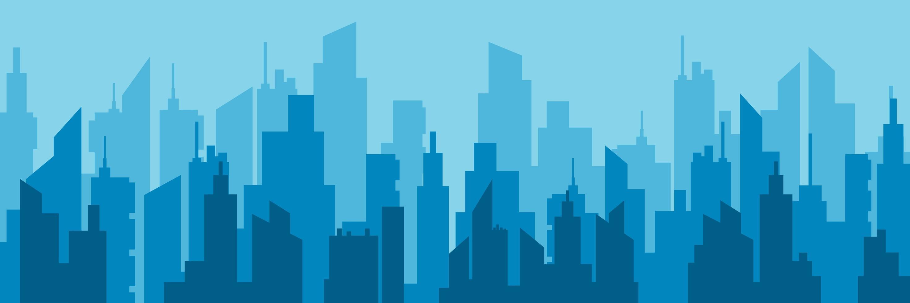 skyline della città blu orizzontale vettore