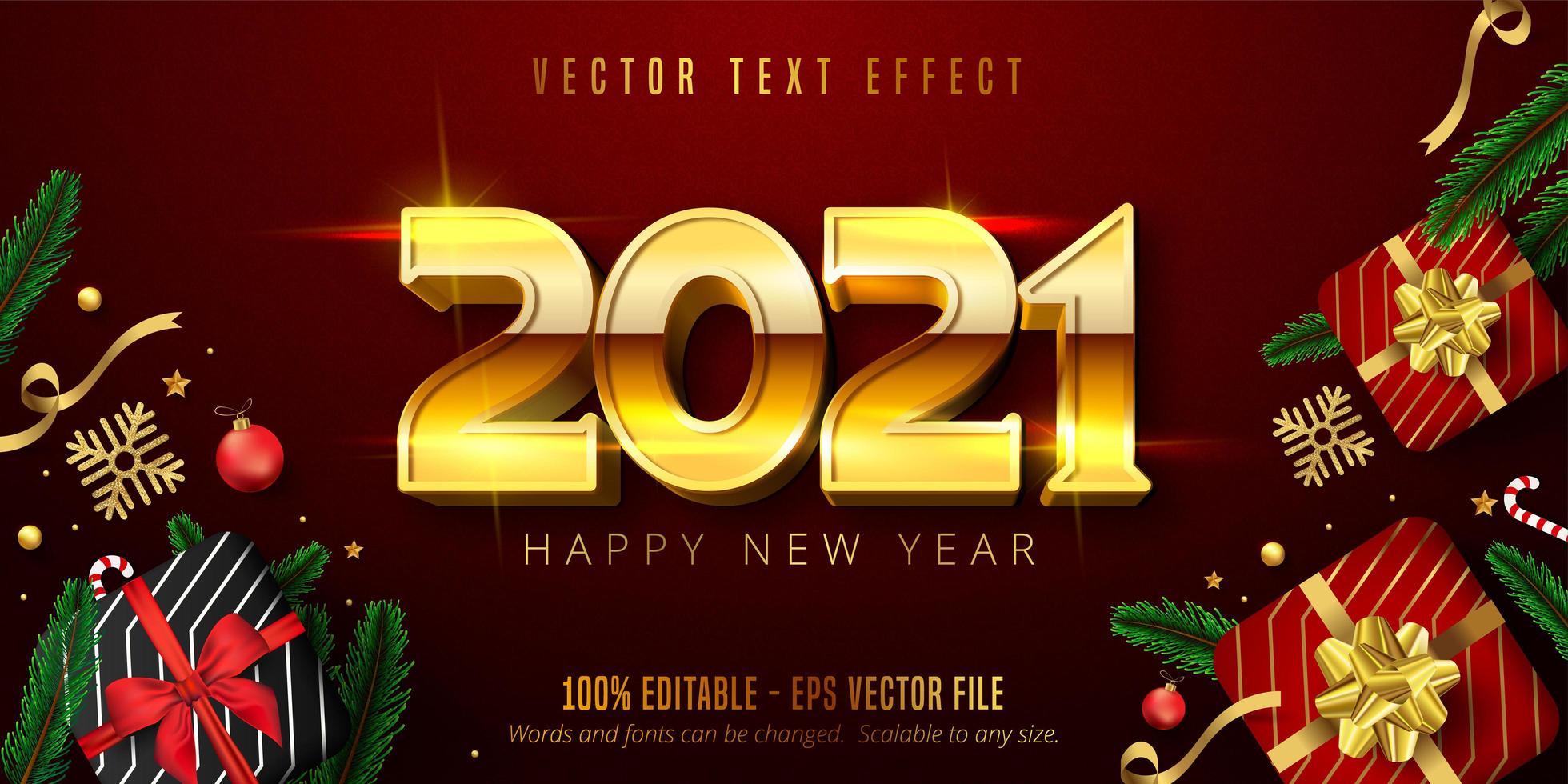 2021 testo di felice anno nuovo vettore