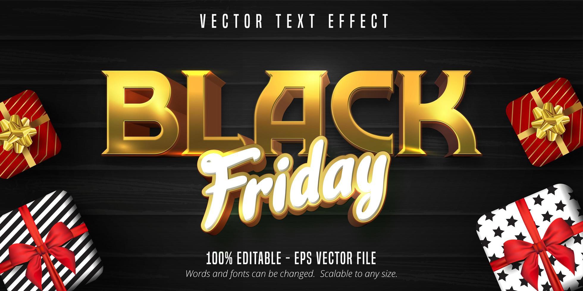 venerdì nero vendita effetto testo banner vettore