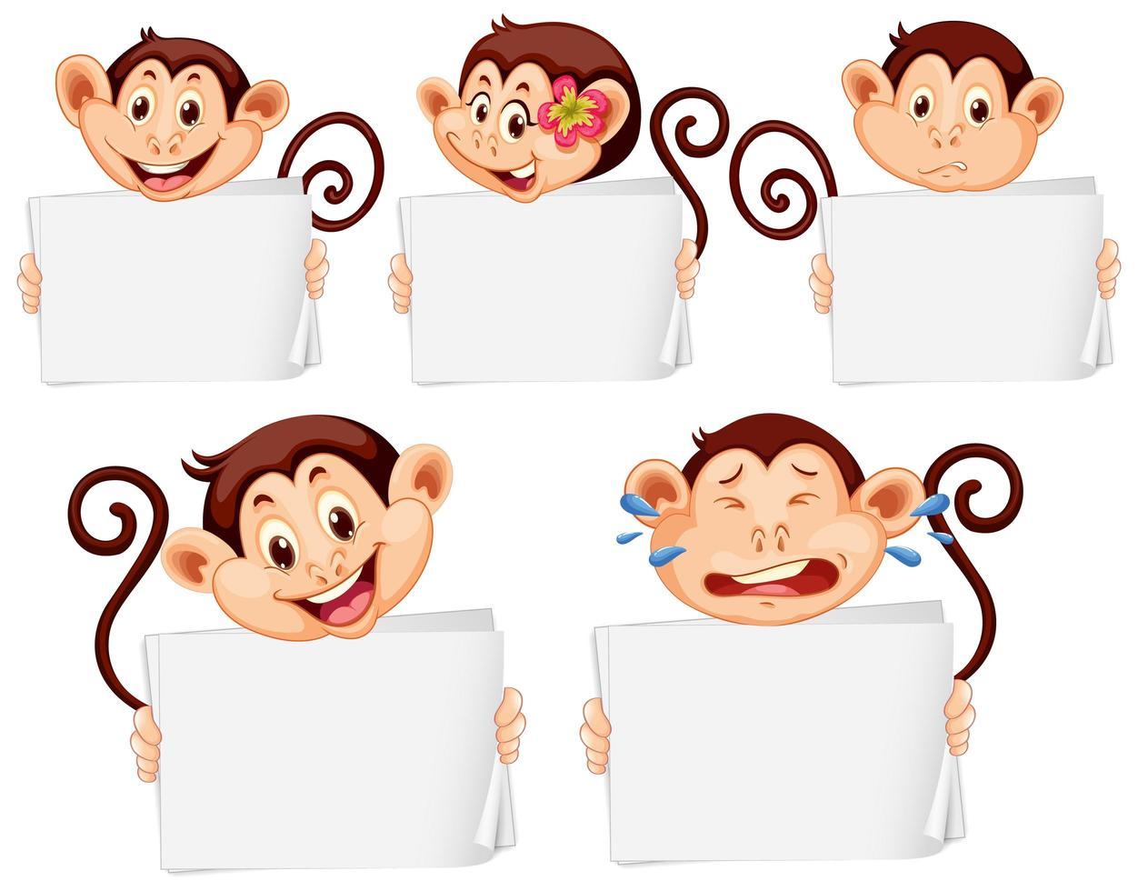 modelli di segno in bianco con scimmie felici vettore