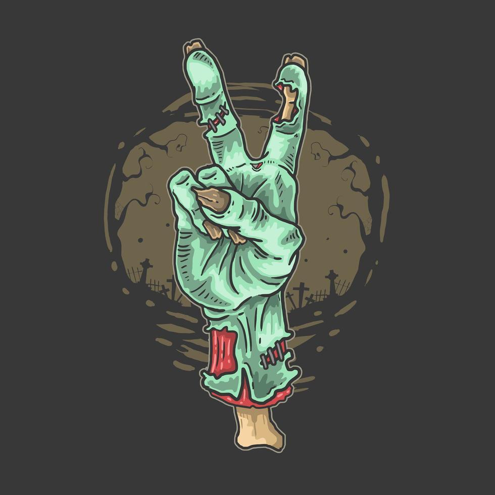 segno di pace della mano delle zombie vettore