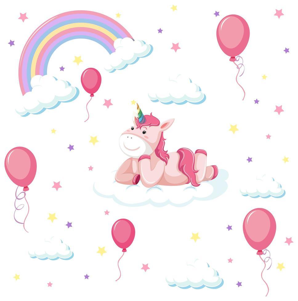 set di unicorno carino con arcobaleno e palloncino vettore