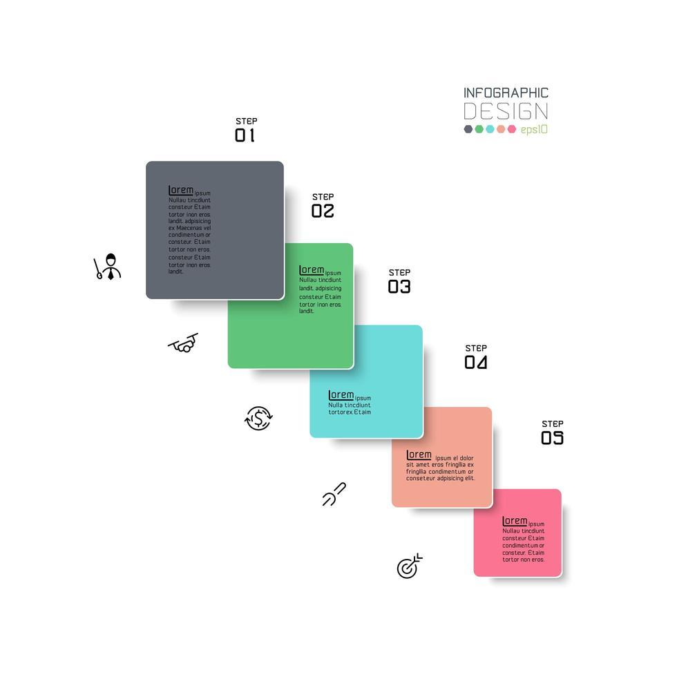 Piazza 5 passi colorato business infografica vettore