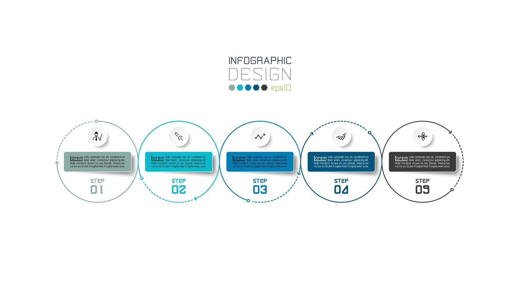 cerchio moderno contorno 5 passi affari infografica design vettore