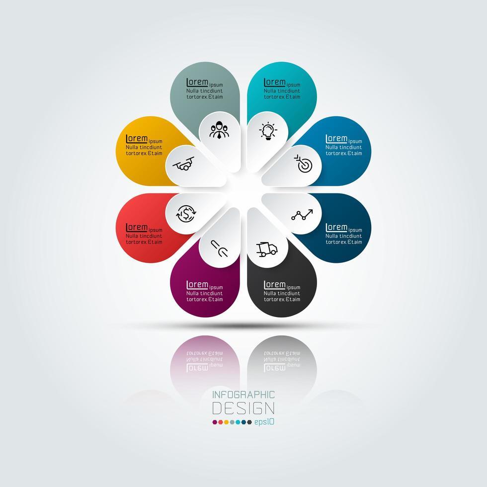 infografica affari colorati con 8 opzioni vettore