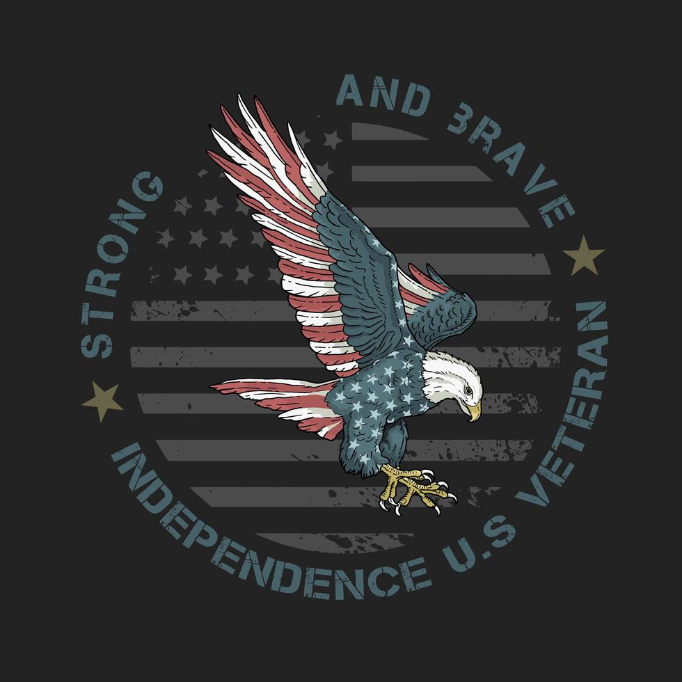 aquila con motivo bandiera americana vettore