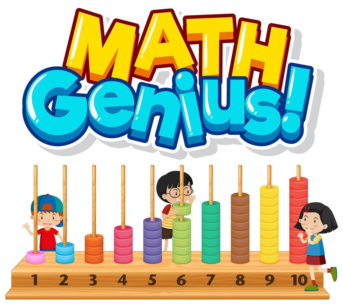 genio della matematica con bambini e numeri vettore