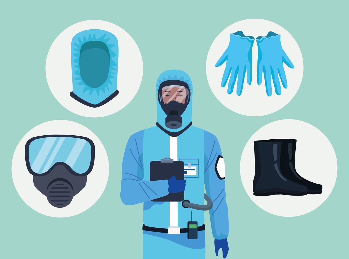 addetto alla biosicurezza con elementi di equipaggiamento per la protezione covid-19 vettore