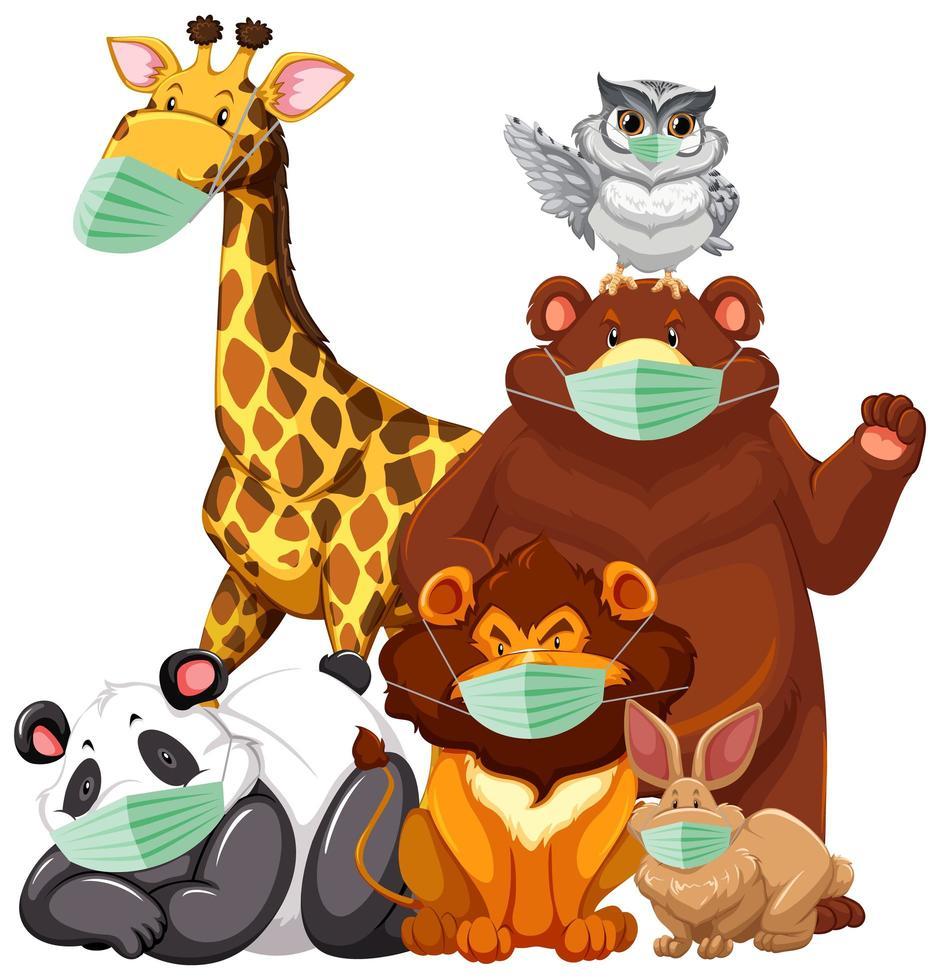 animali selvatici che indossano maschere vettore