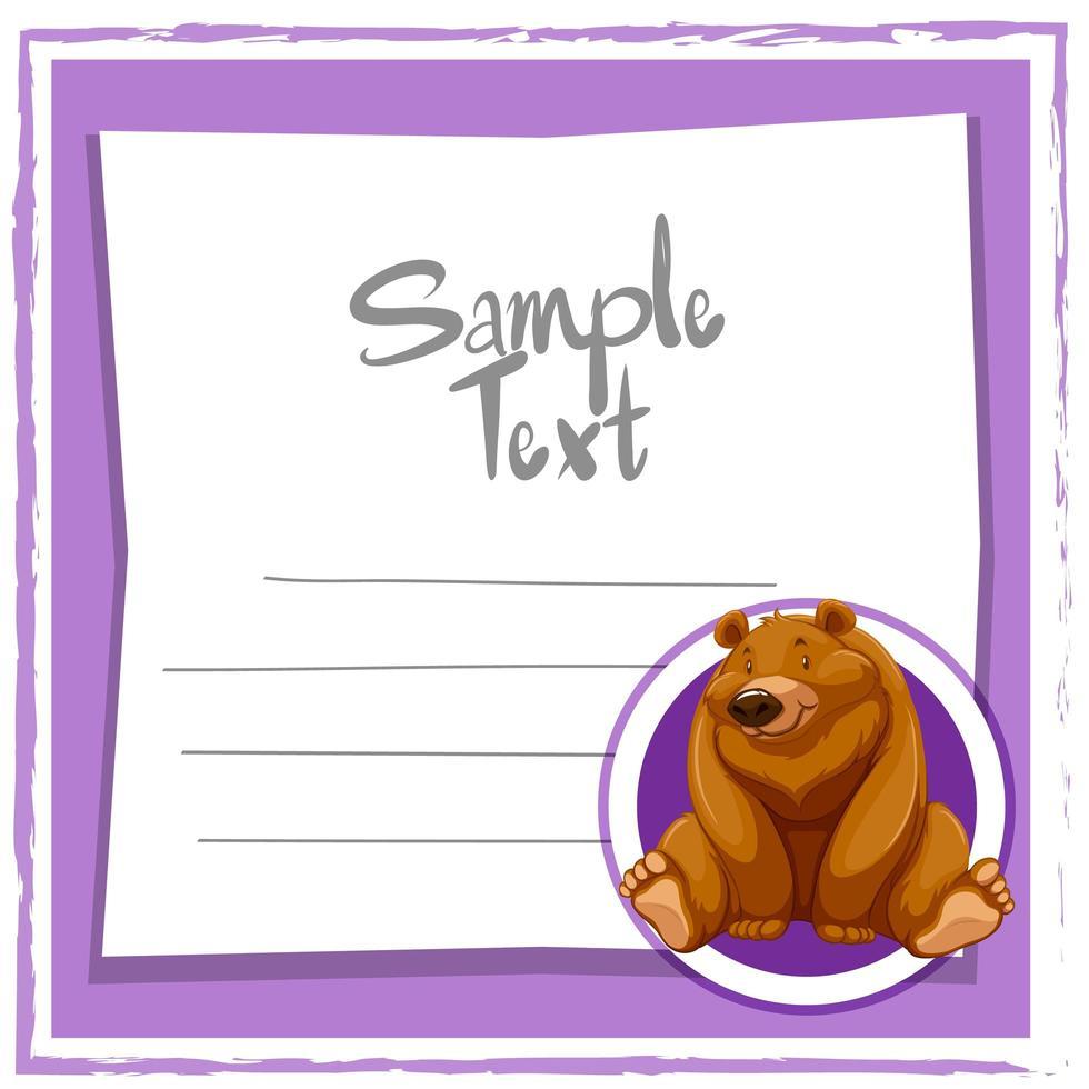 modello di carta con orso grizzly vettore