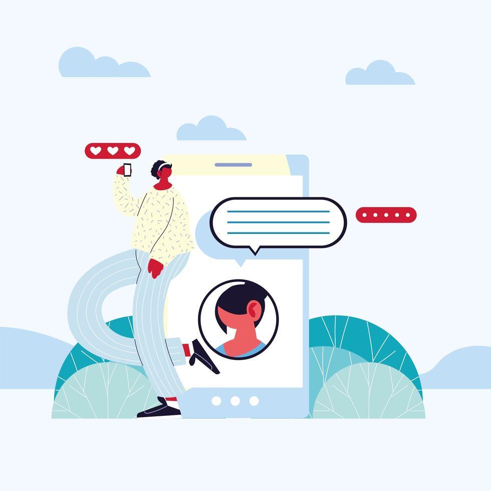 donna vicino a uno smartphone in chat vettore