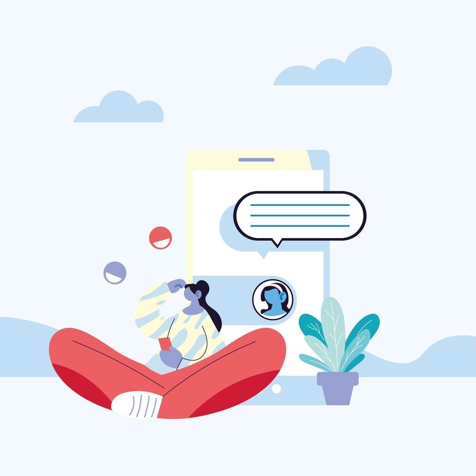 donna con smartphone in chat vettore