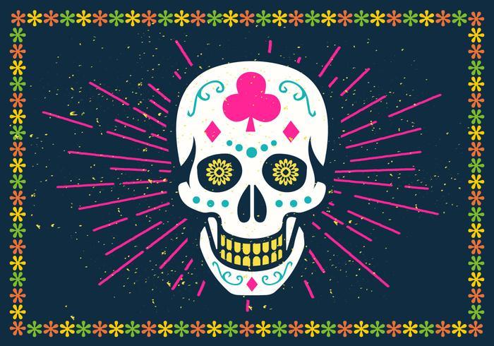 Illustrazione luminosa di vettore del cranio dello zucchero di Halloween