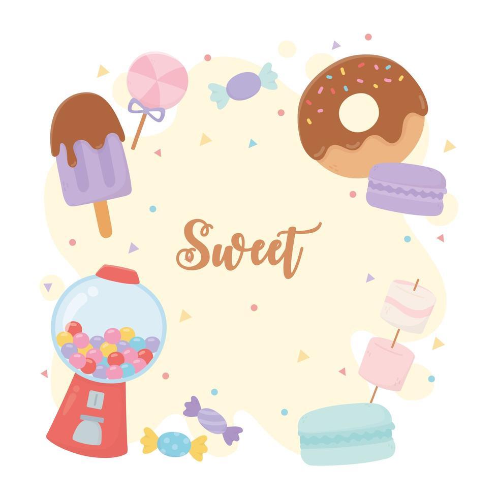 raccolta di caramelle e dolci vettore