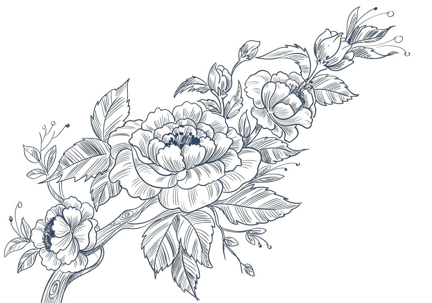 disegno floreale decorativo abbozzato vettore