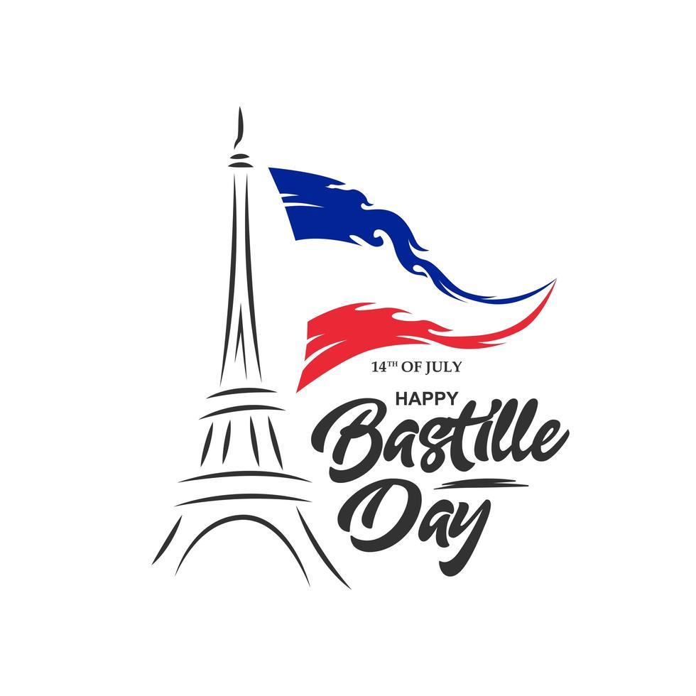 design di abbigliamento felice giorno della bastiglia con bandiera e torre eiffel vettore