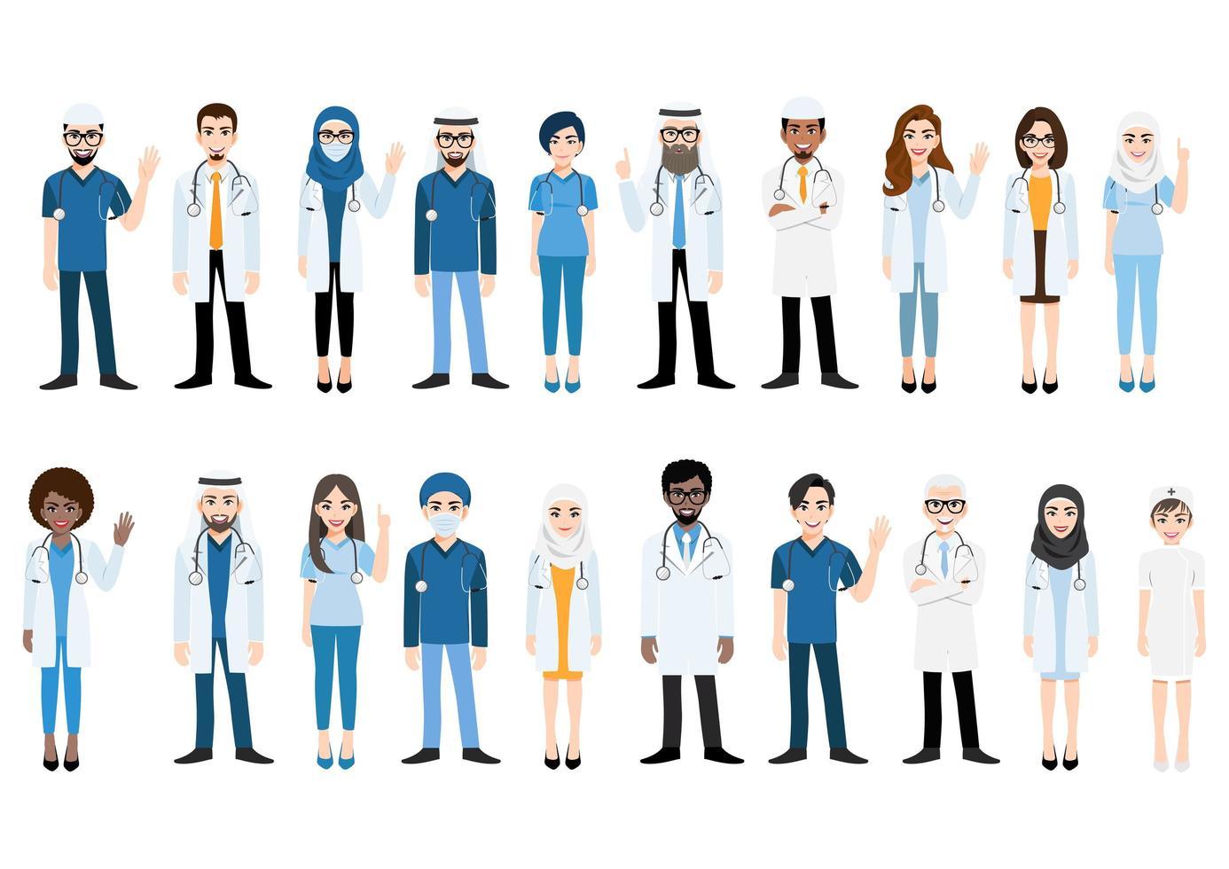 personaggio dei cartoni animati con team medico e personale vettore
