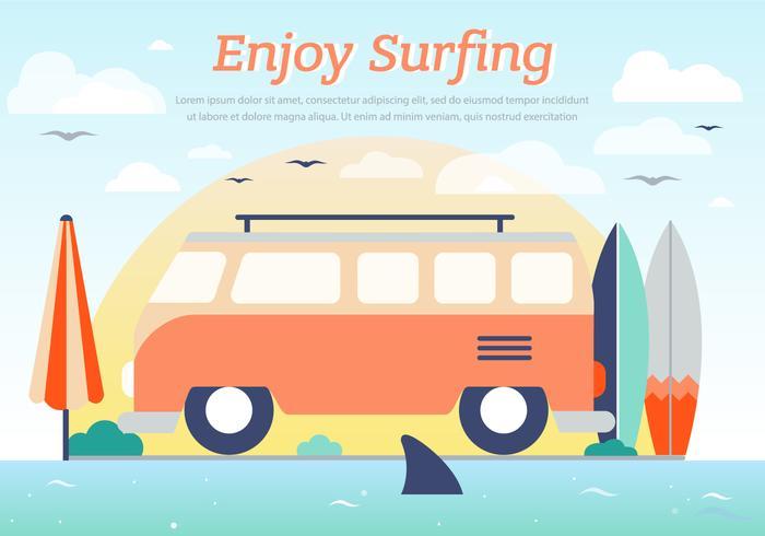 Fondo praticante il surfing di vettore del bus di hippy