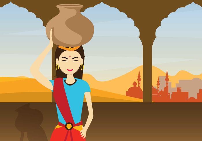 Illustrazione di donna indiana vettore