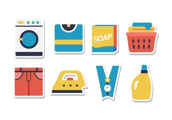 Insieme dell'icona dell'autoadesivo della lavanderia vettore