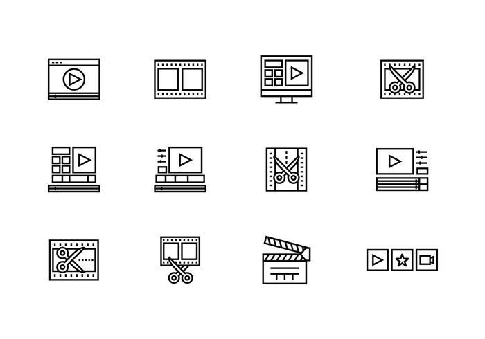 Icone dell'editor video vettore