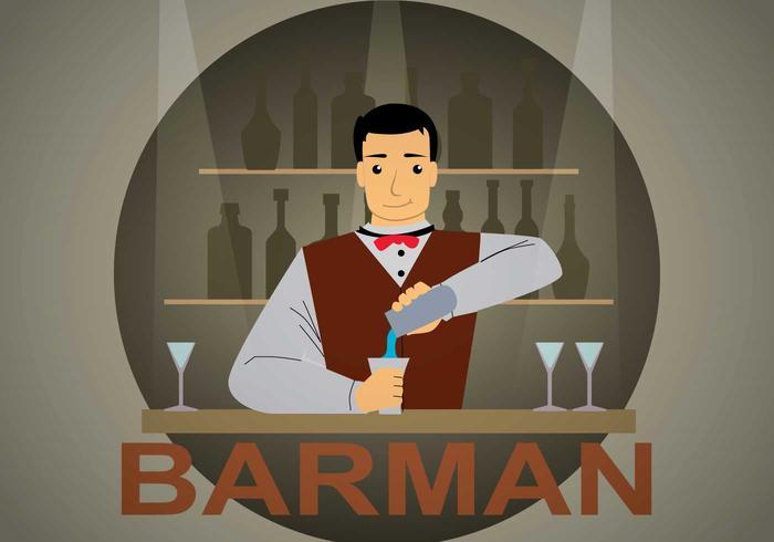 Illustrazione gratis barman vettore