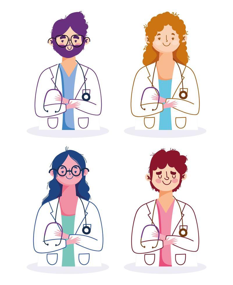 professionisti medici di sesso femminile e maschile vettore