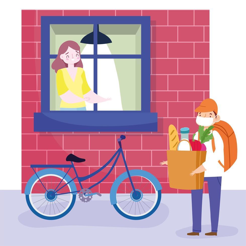 uomo corriere bici consegna in modo sicuro generi alimentari a una donna a casa vettore