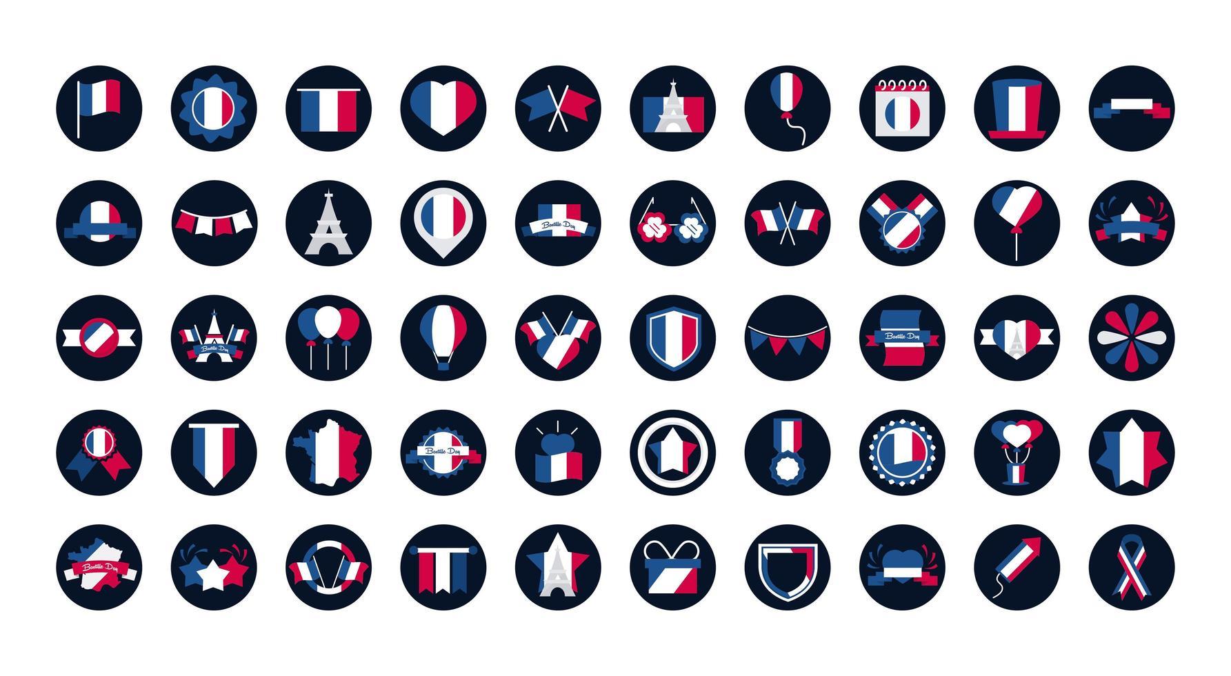 collezione di icone francesi vettore
