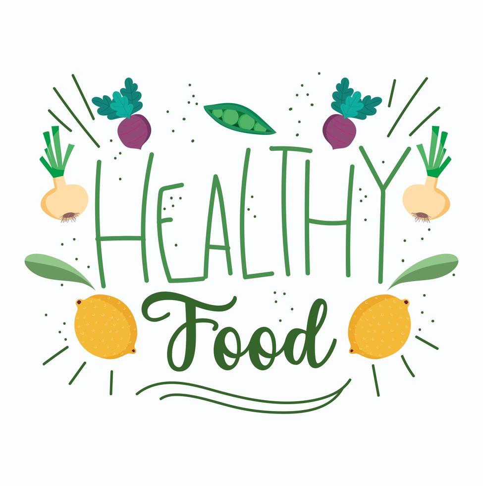 scritte di cibo sano carino con icone di prodotti vettore