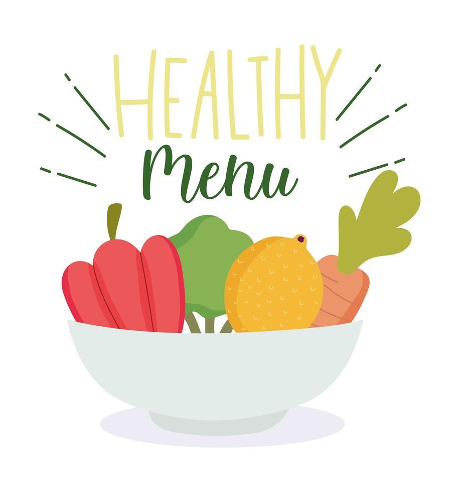 menu sano con ciotola di verdure biologiche vettore