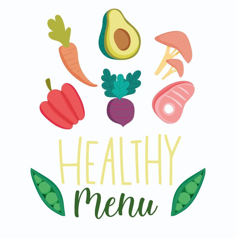 icone di prodotti alimentari sani vettore