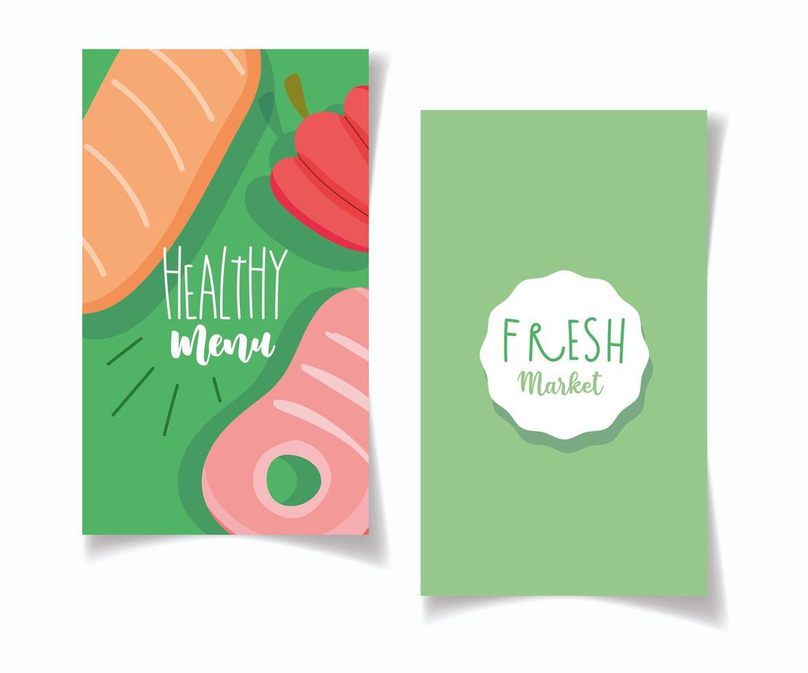 menu del ristorante per cibo sano e banner di mercato biologico vettore