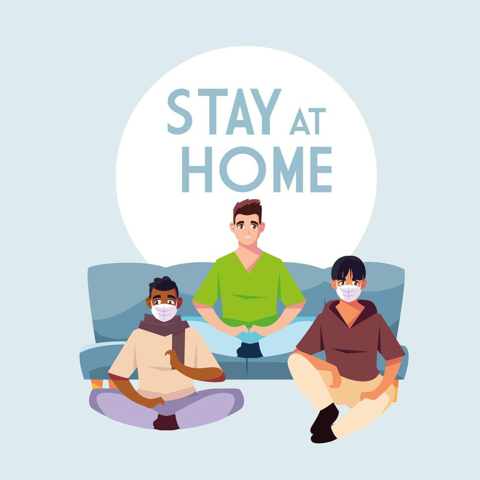 stare a casa consapevolezza e prevenzione del coronavirus con tre uomini vettore
