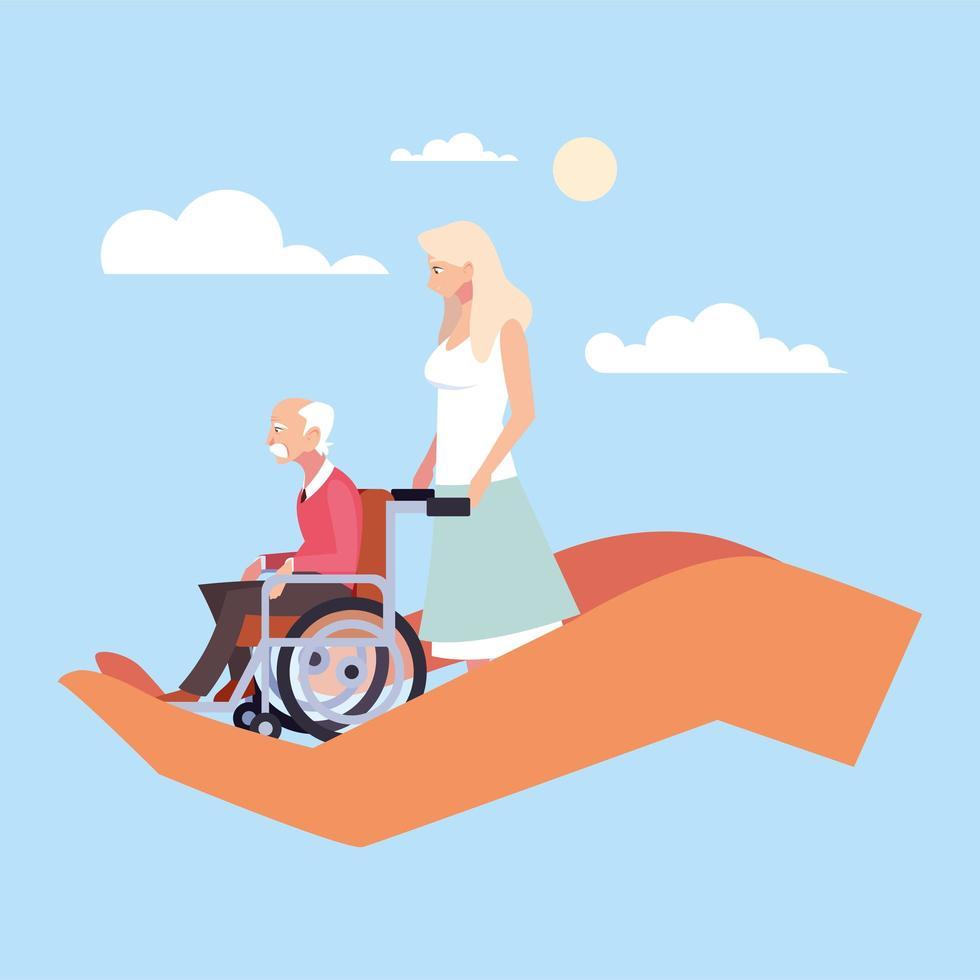la donna si prende cura del vecchio, si prende cura degli anziani vettore