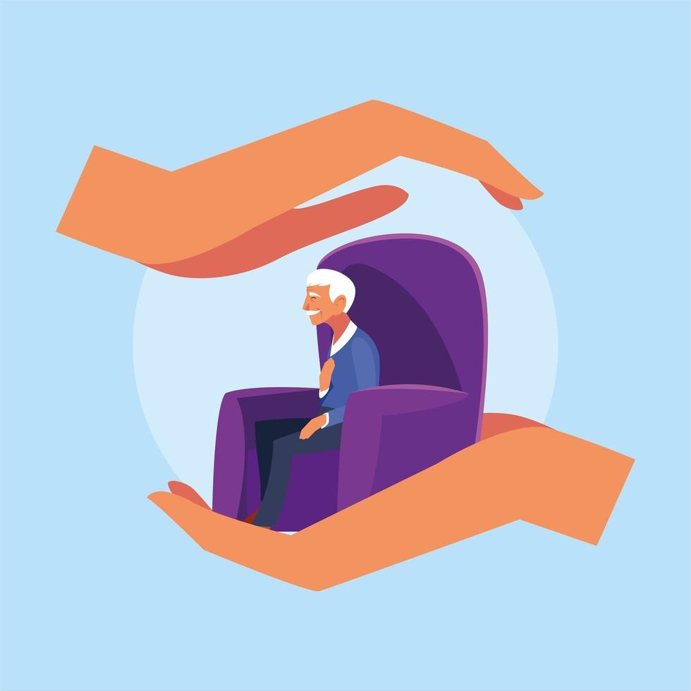mani che tengono il vecchio seduto sul divano vettore