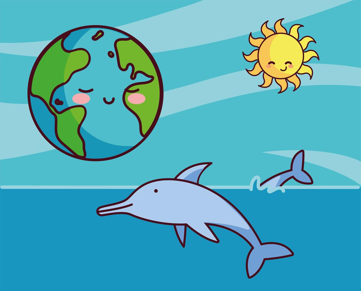pianeta terra con i delfini vettore