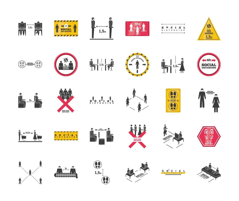 raccolta di icone di allontanamento sociale vettore
