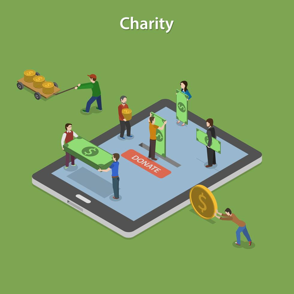 concetto di carità isometrica piatto di donazione online vettore