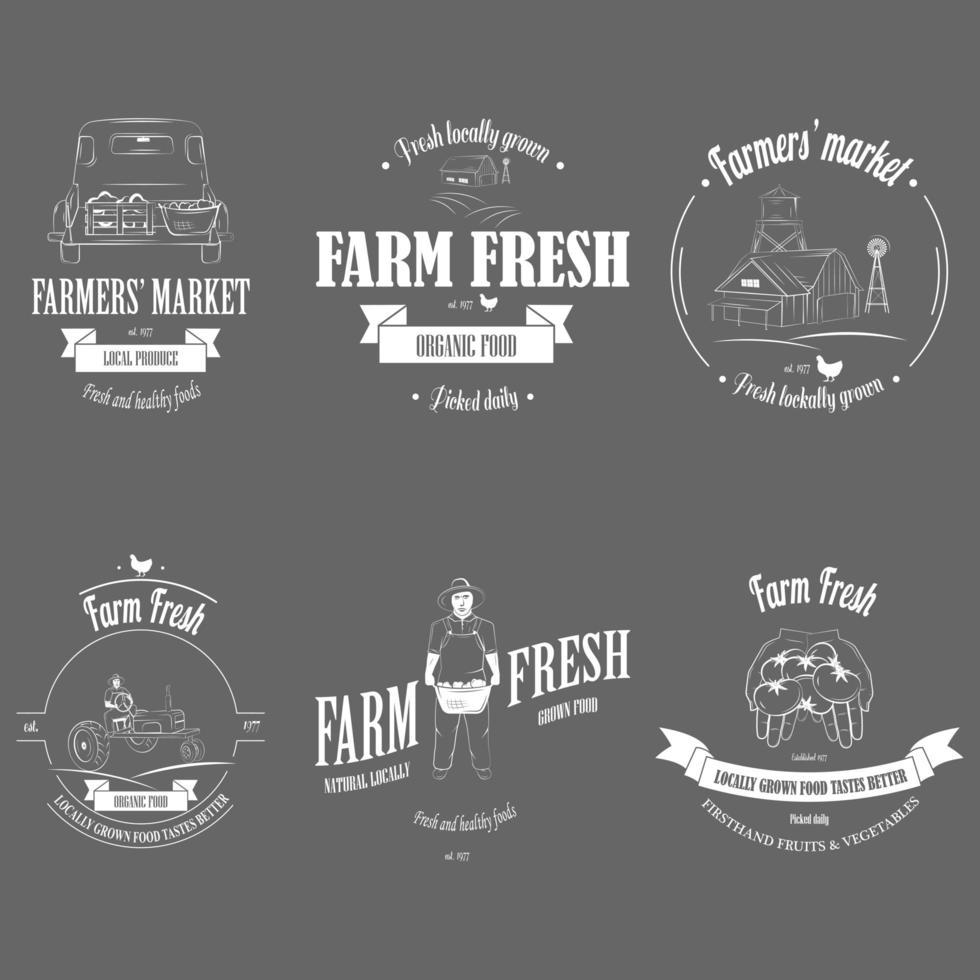 set di badge per prodotti freschi di fattoria vettore