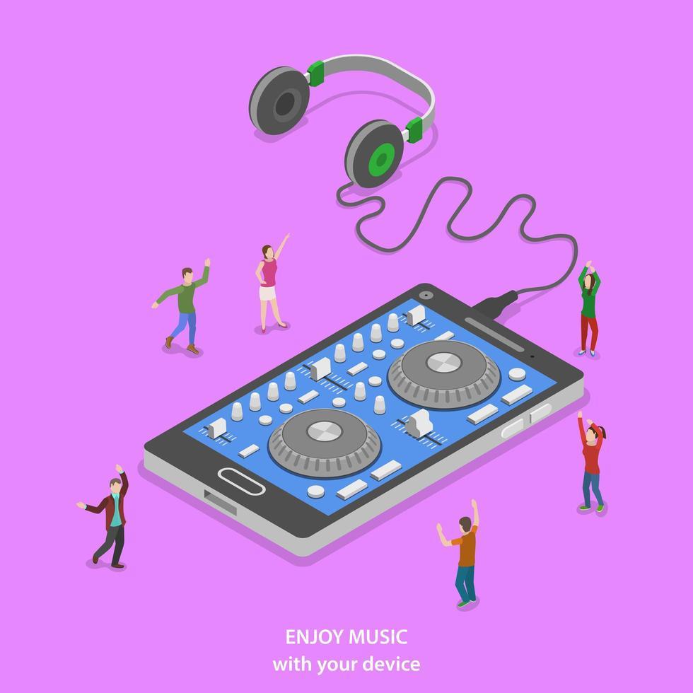 persone che ballano intorno allo smartphone mixer dj vettore