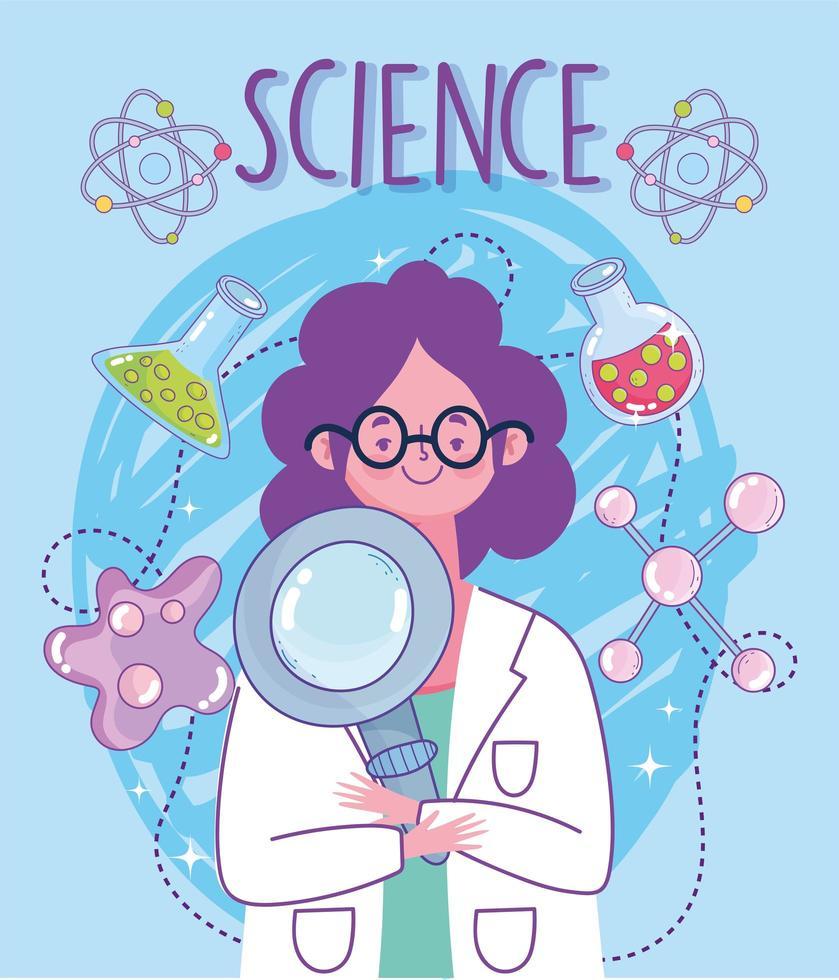 donna in camice da laboratorio con strumenti scientifici di laboratorio vettore