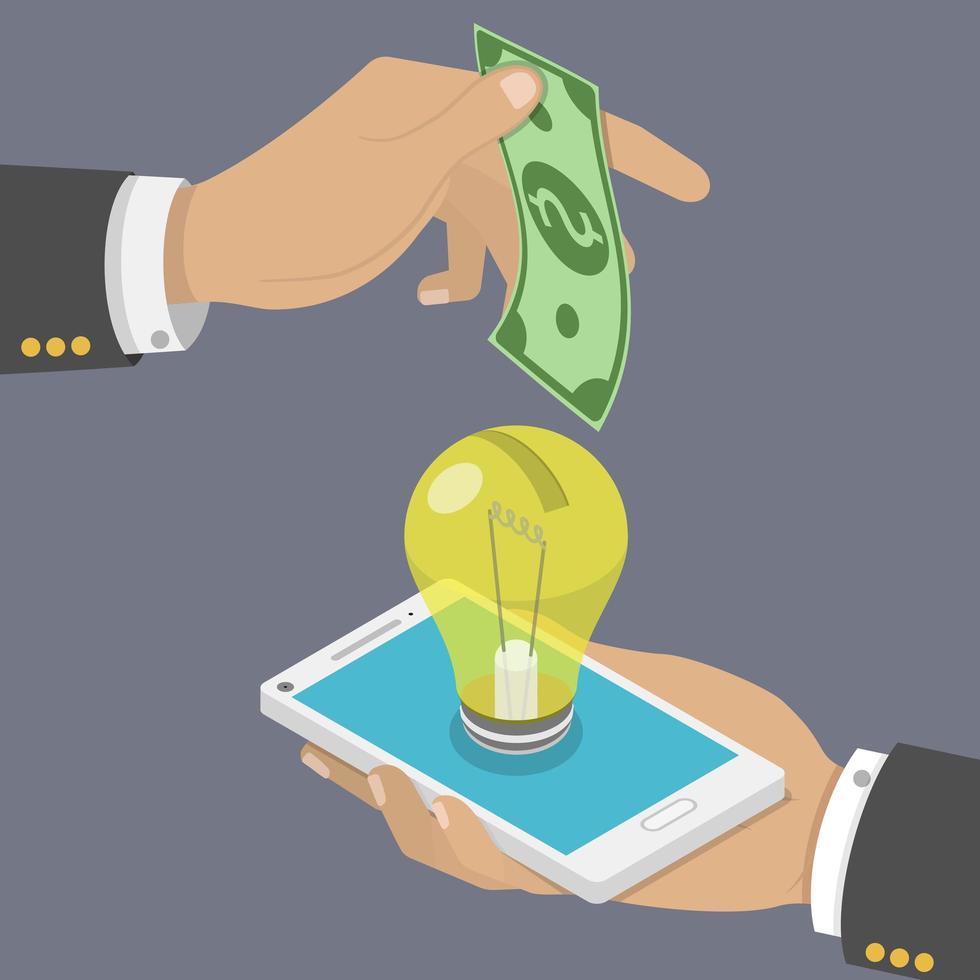 uomo che fa cadere i soldi nella lampadina con lo smartphone vettore