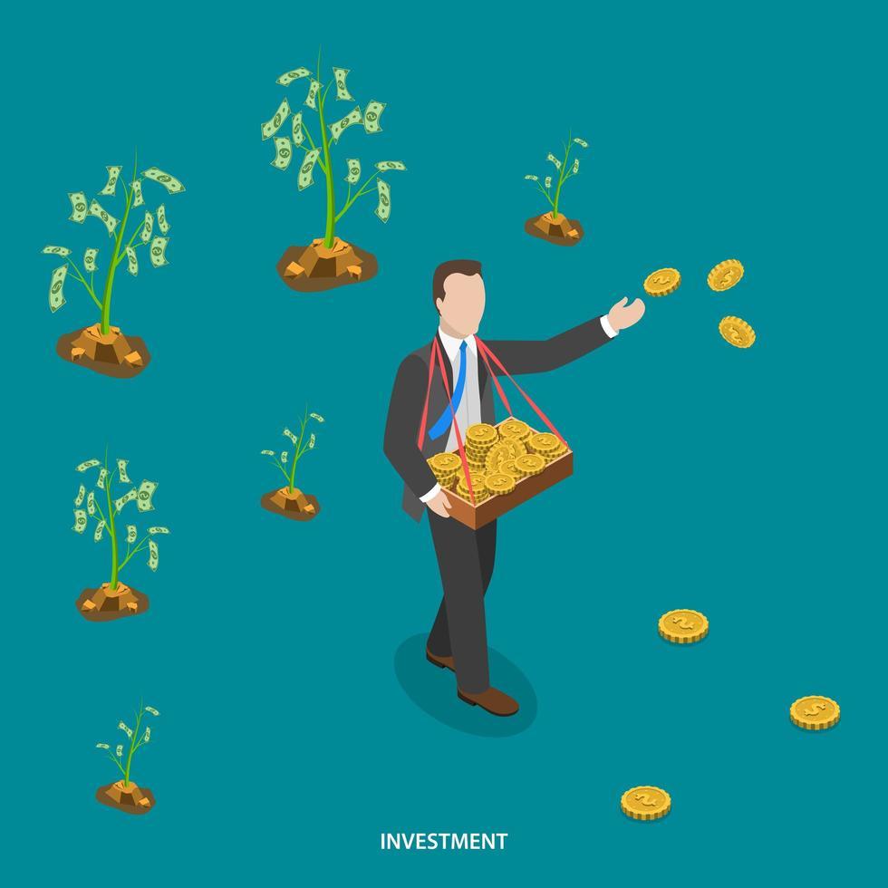 uomo che cammina e lancia monete per far crescere alberi di denaro vettore