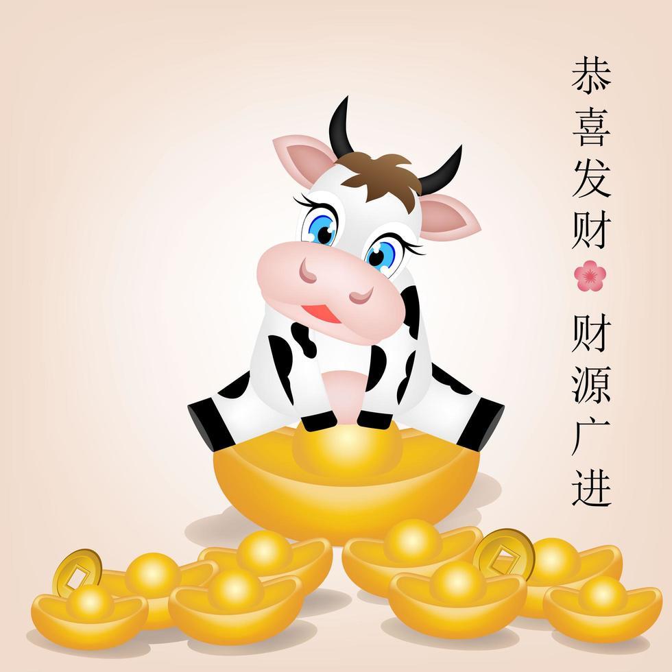 cartone animato di bue in un mucchio d'oro per il capodanno cinese vettore