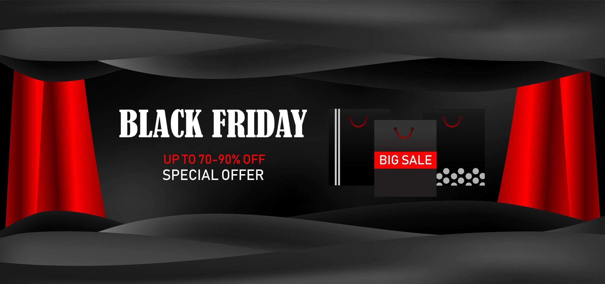 banner di offerta speciale promozione grande vendita venerdì nero vettore