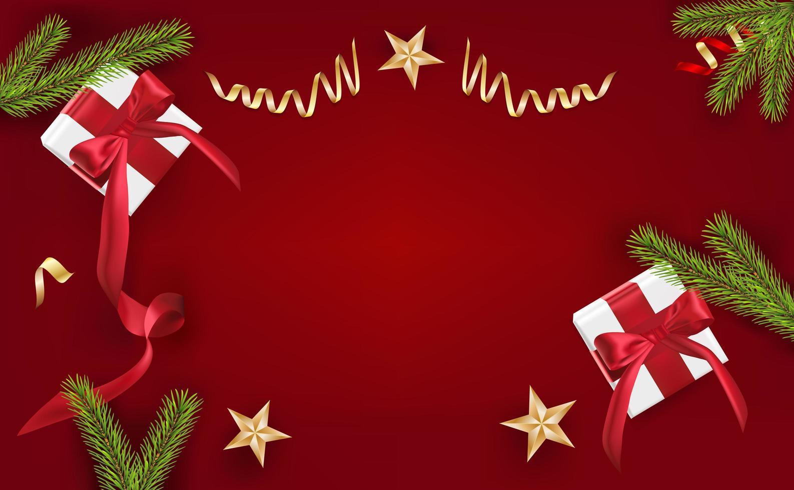 felice anno nuovo, elementi decorativi di design natalizio con scatola regalo e orpelli rossi. poster natalizi orizzontali, biglietti di auguri. oggetti visti dall'alto. vista piana, vista dall'alto vettore