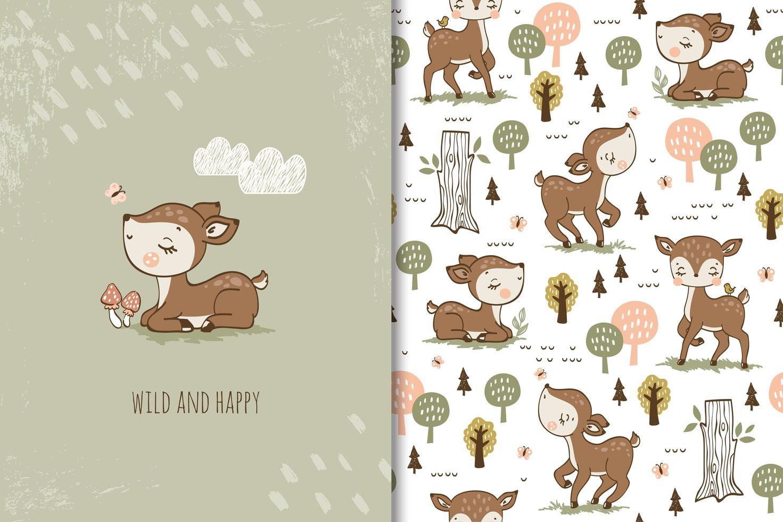cervo bambino selvaggio e felice vettore