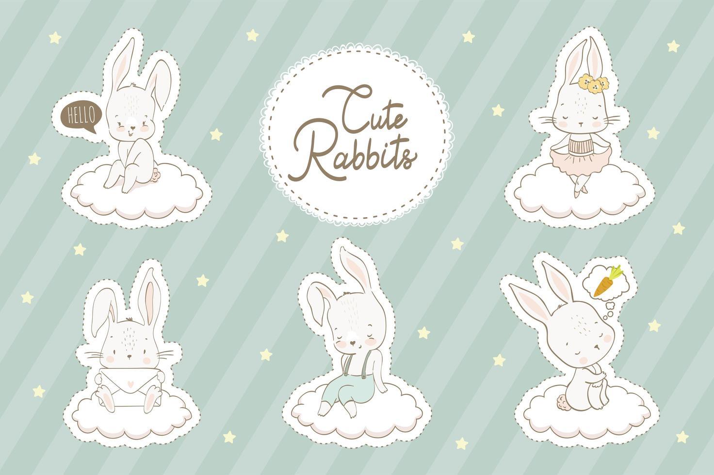 set di coniglietti vettore