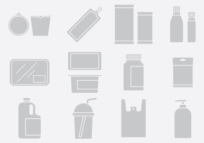 Set di icone del pacchetto di plastica grigia 1 vettore